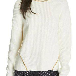 NWT JOIE L meliso Gold Chain Sweater Cream White I